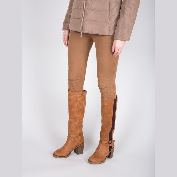 Hnedé čižmy na masívnom podpätku bata, hnedá, 699-5602 - 18