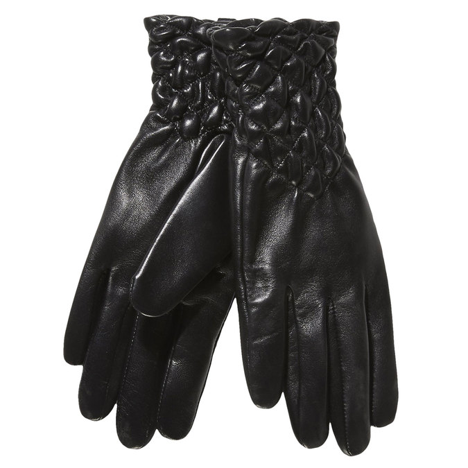 Dámske kožené rukavice s prešívaním bata, čierna, 904-6113 - 13