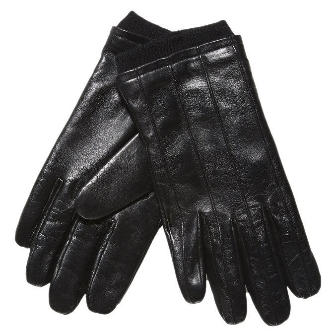 Kožené rukavice s úpletom bata, čierna, 904-6117 - 13
