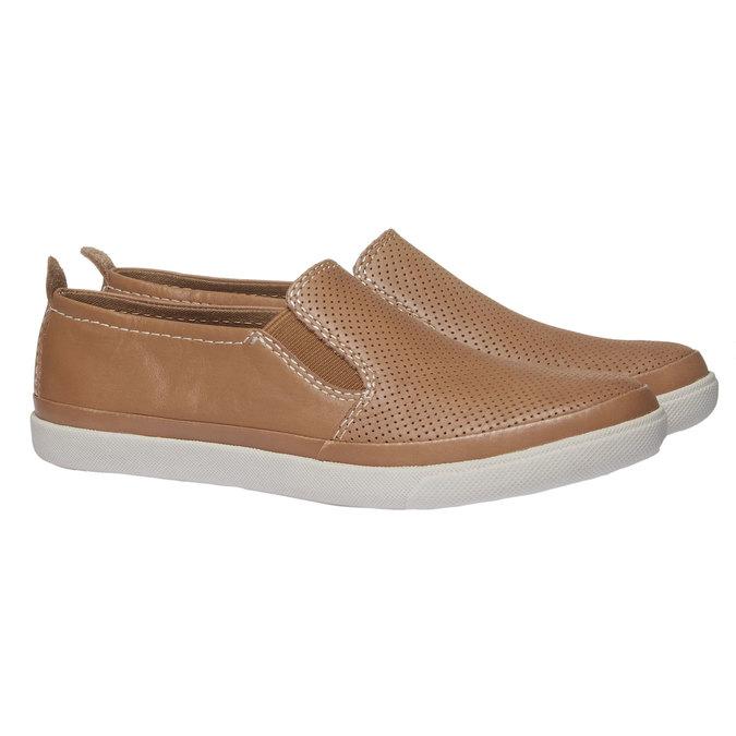 Kožené Plim Soll topánky s perforáciou bata, hnedá, 514-3197 - 26