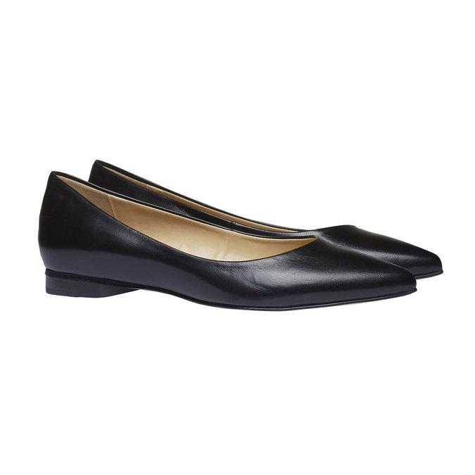 Čierne kožené baleríny do špičky bata, čierna, 524-6493 - 26