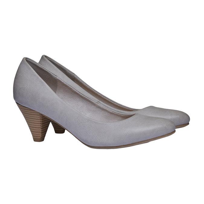 Dámske lodičky na skosenom podpätku bata, šedá, 621-2949 - 26