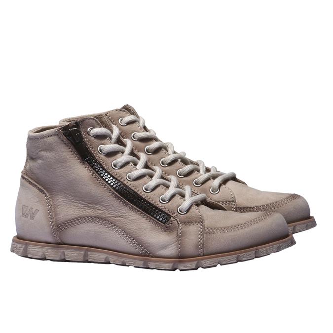 Dizajnová kožená obuv weinbrenner, šedá, hnedá, 544-2145 - 26