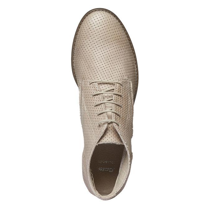 Dámske kožené členkové topánky bata, béžová, 524-8468 - 19