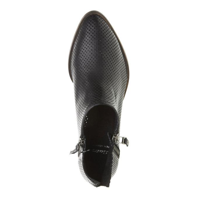 Kožené členkové čižmy s perforáciou bata, čierna, 594-6400 - 19