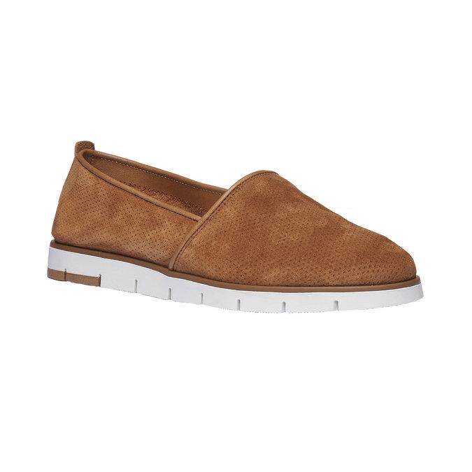 Kožené Slip-on topánky s perforáciou flexible, hnedá, 513-3200 - 13