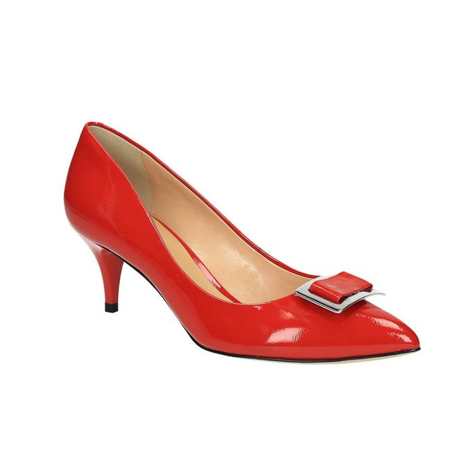 Dámske červené kožené lodičky bata, červená, 628-5630 - 13