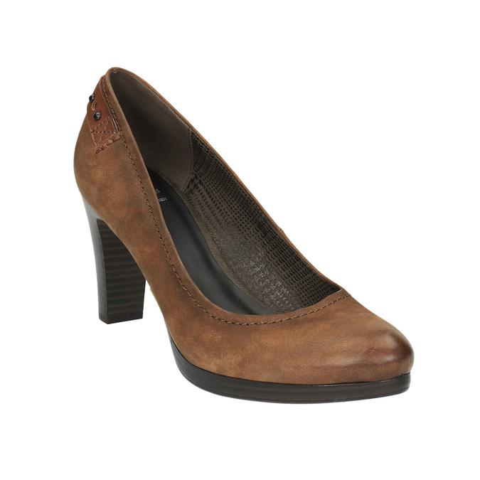 Dámske lodičky na širšom podpätku bata, hnedá, 626-4602 - 13