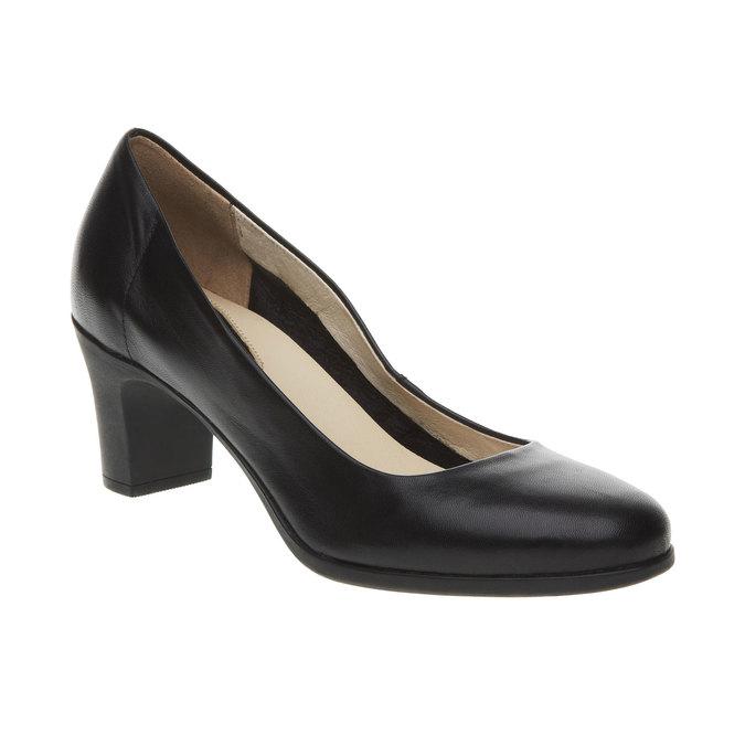 Čierne kožené lodičky flexible, čierna, 624-6393 - 13