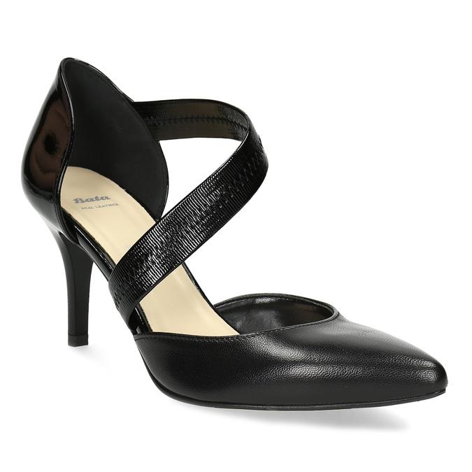 Čierne kožené lodičky s asymetrickým remienkom bata, čierna, 724-6904 - 13