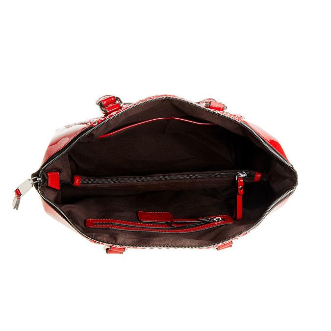 Červená lesklá kabelka bata, červená, 961-5796 - 15