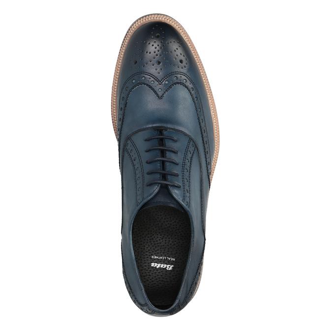 Kožené Oxfordky s Brogue zdobením bata, modrá, 826-9647 - 19