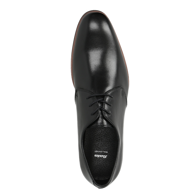 Čierne kožené poltopánky s ležérnou podrážkou bata, čierna, 824-6679 - 19