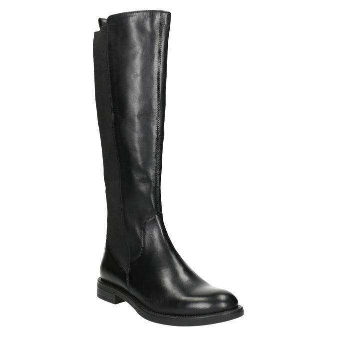 Dámske kožené čižmy bez zipsu vagabond, čierna, 594-6003 - 13