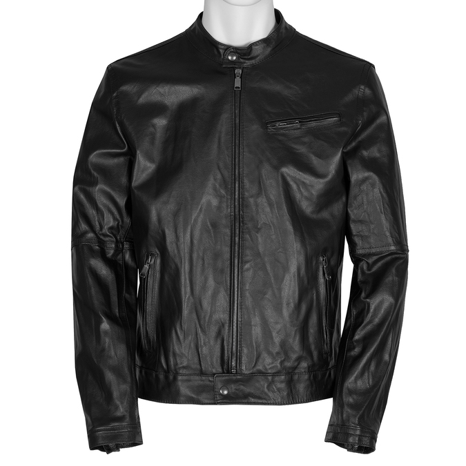 Pánska kožená bunda so štýlovým prešívaním bata, čierna, 974-6142 - 13