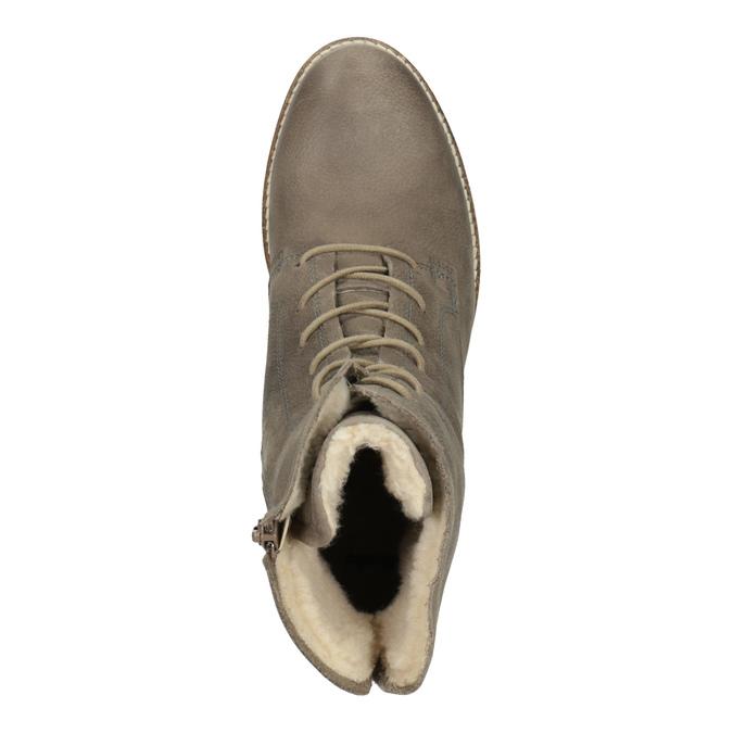 Kožená členková obuv so zateplením bata, šedá, 596-2610 - 19