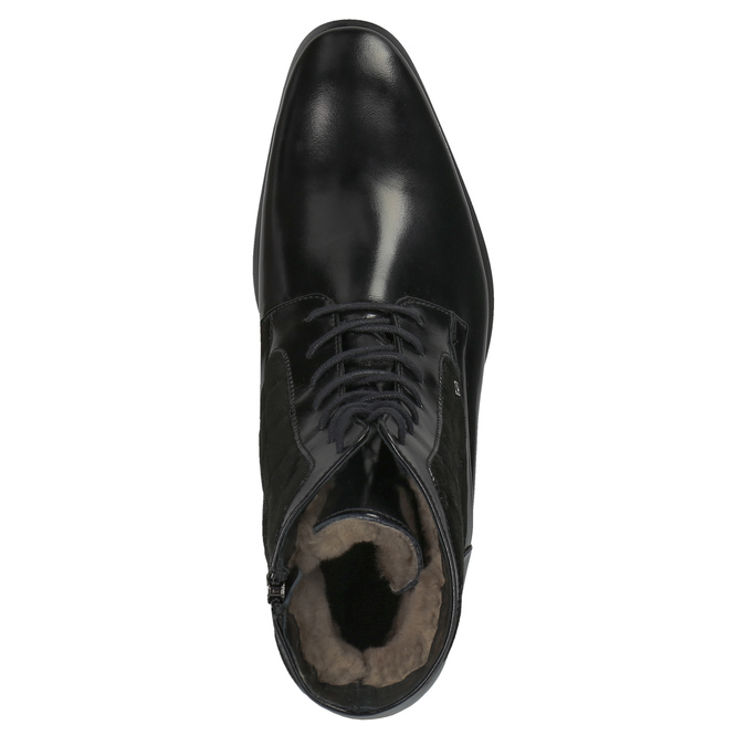 Kožená členková obuv so zateplením conhpol, čierna, 894-6677 - 19