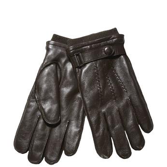 Pánske kožené rukavice s úpletom bata, hnedá, 904-4118 - 13
