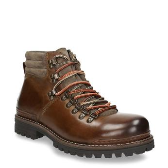 Kožená obuv s originálnym šnurovaním bata, hnedá, 894-4180 - 13