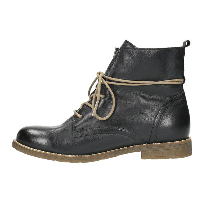 Kožená členková obuv so zateplením bata, čierna, 594-6610 - 26