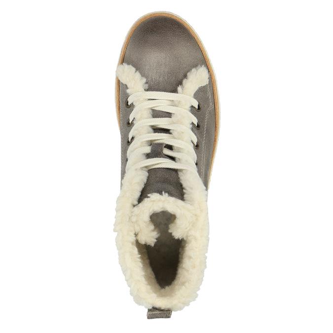 Kožené členkové tenisky s kožúškom weinbrenner, šedá, 596-2627 - 19