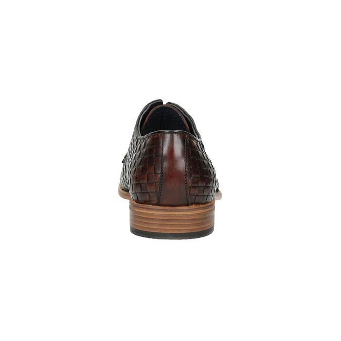 Celokožené poltopánky s pleteným vzorom bata, hnedá, 826-3775 - 17