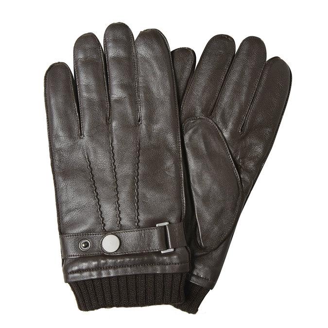 Pánske kožené rukavice bata, hnedá, 904-4127 - 13