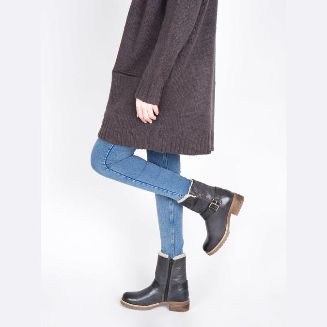 Dámska obuv s kožúškom bata, čierna, 594-6609 - 18