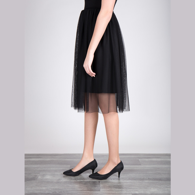 Elegantné lodičky na nízkom podpätku bata, čierna, 629-6631 - 18