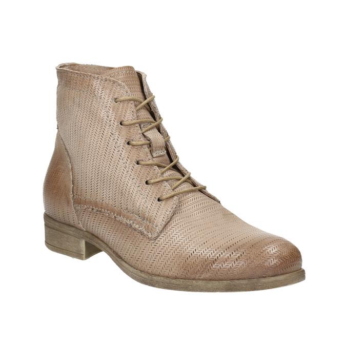 Kožená členková obuv s perforovaným vzorom bata, hnedá, 596-4646 - 13