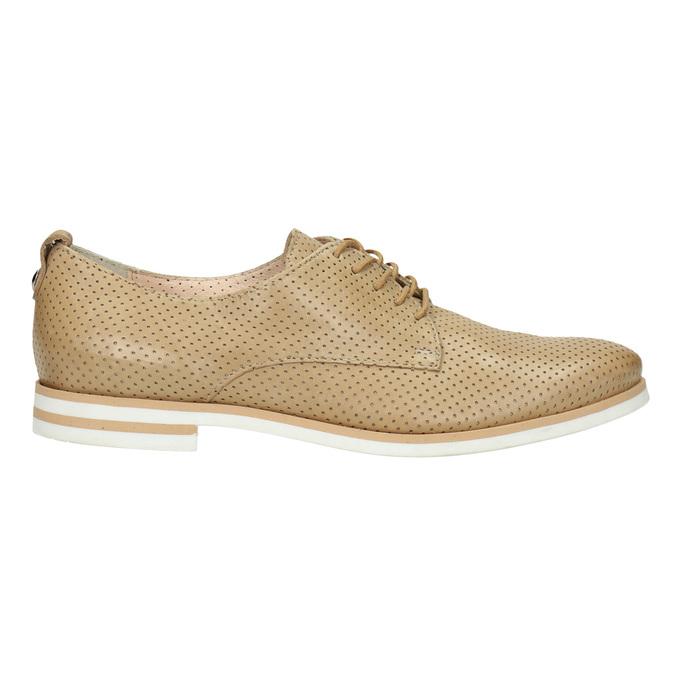 Dámske ležérne kožené poltopánky bata, béžová, 526-3626 - 15