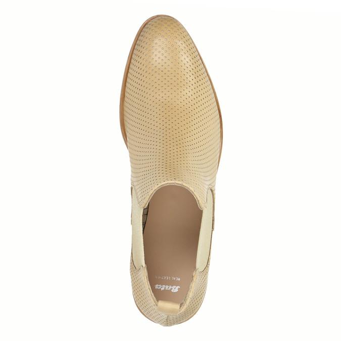 Kožené Chelsea topánky s perforáciou bata, béžová, 596-3651 - 19