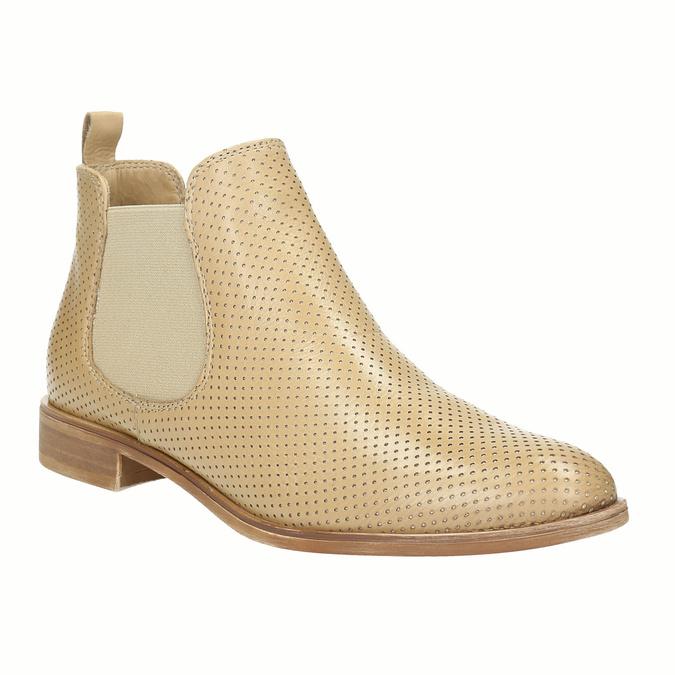Kožené Chelsea topánky s perforáciou bata, béžová, 596-3651 - 13
