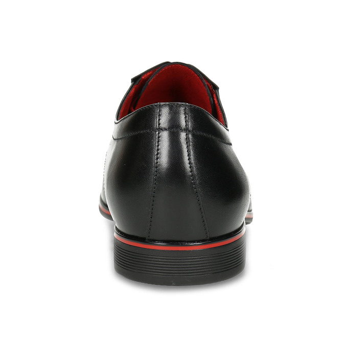 Kožené poltopánky s červenými detailami conhpol, čierna, 824-6873 - 15