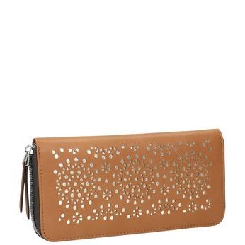Hnedá peňaženka s perforáciou bata, hnedá, 941-3154 - 13