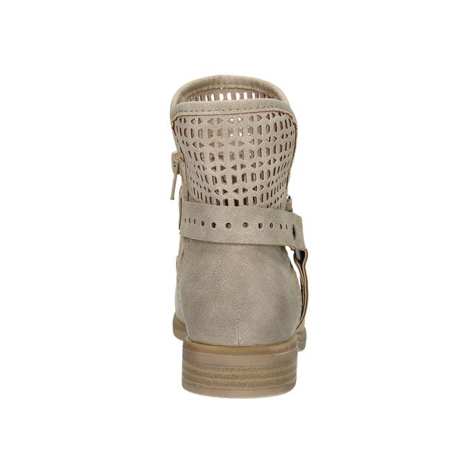 Jarné členkové čižmy s perforáciou bata, béžová, 691-8632 - 17