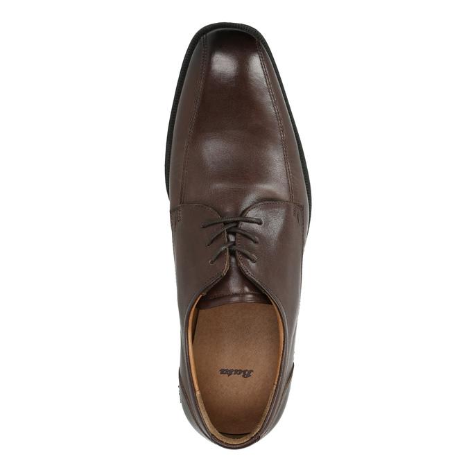 Pánske kožené poltopánky s prešitím cez špičku bata, hnedá, 824-4815 - 19