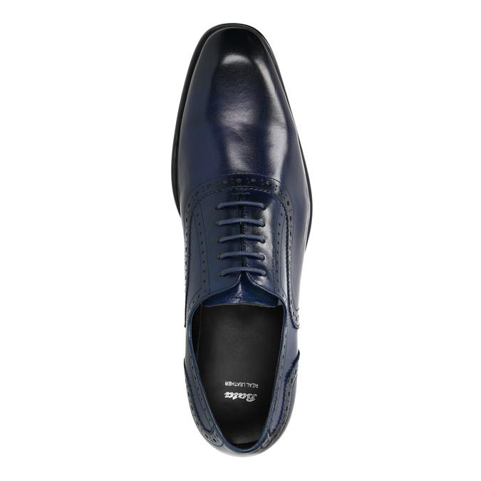 Modré kožené Oxford poltopánky bata, modrá, 826-9822 - 19