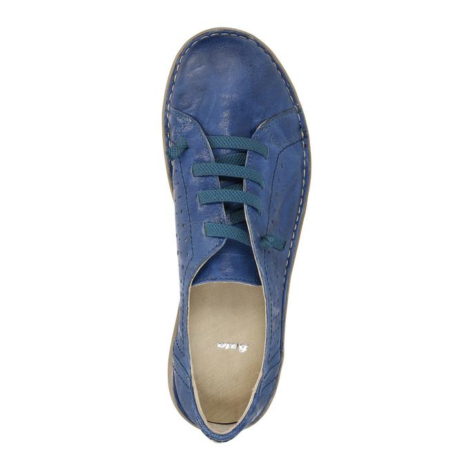 Modré kožené poltopánky v ležérnom štýle bata, modrá, 526-9624 - 19