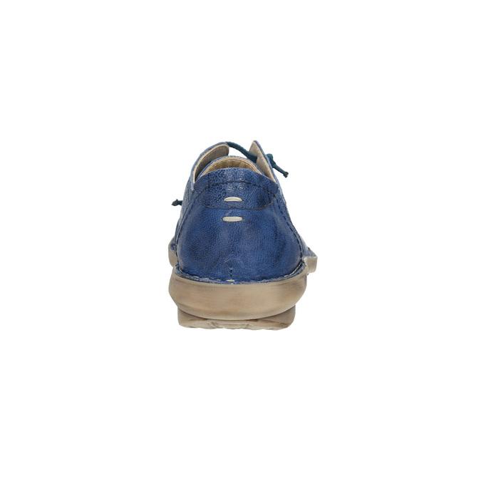 Modré kožené poltopánky v ležérnom štýle bata, modrá, 526-9624 - 17