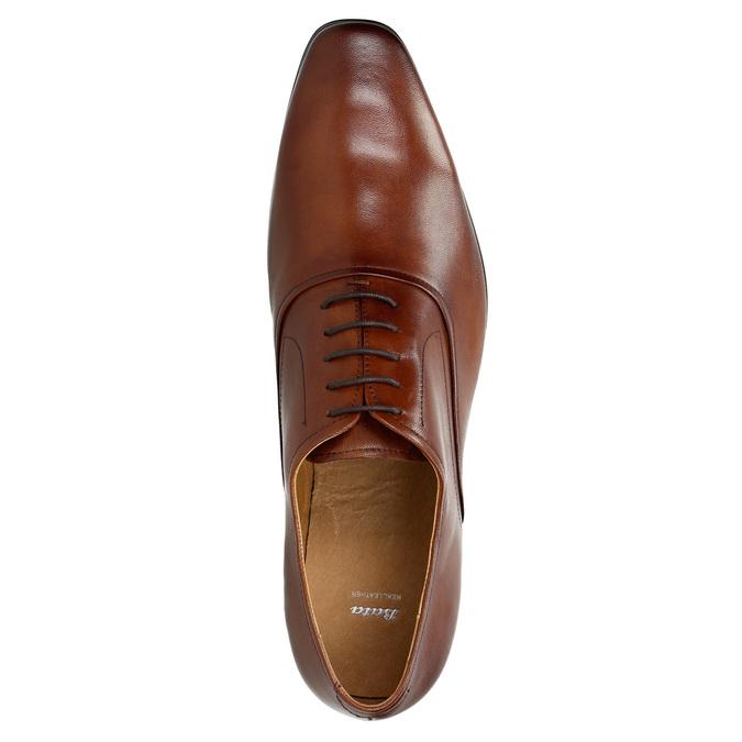 Hnedé kožené Oxford poltopánky bata, hnedá, 826-3819 - 19