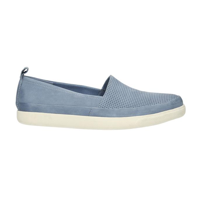 Dámska kožená obuv s perforáciou bata-light, modrá, 516-9601 - 15