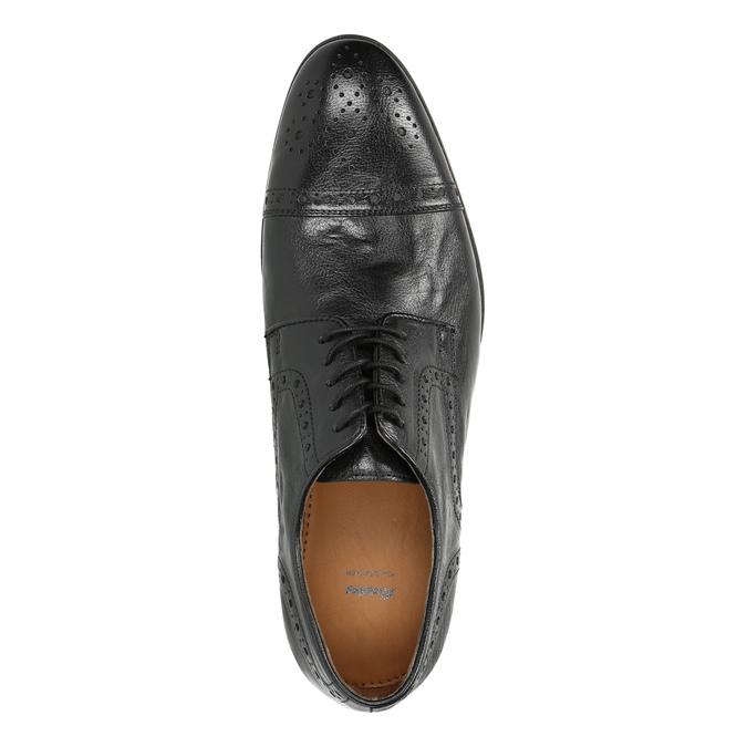 Kožené čierne poltopánky s Brogue zdobením bata, čierna, 826-6795 - 19