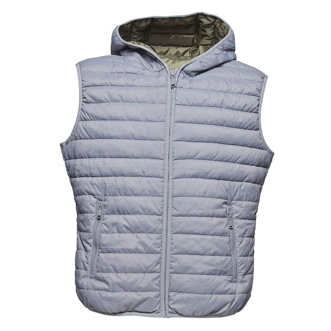 Pánska prešívaná vesta s kapucou bata, šedá, 979-2614 - 13