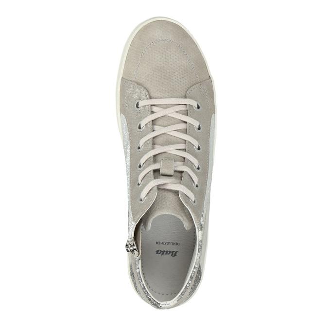 Kožené členkové tenisky so vzorom bata, šedá, 526-2614 - 19