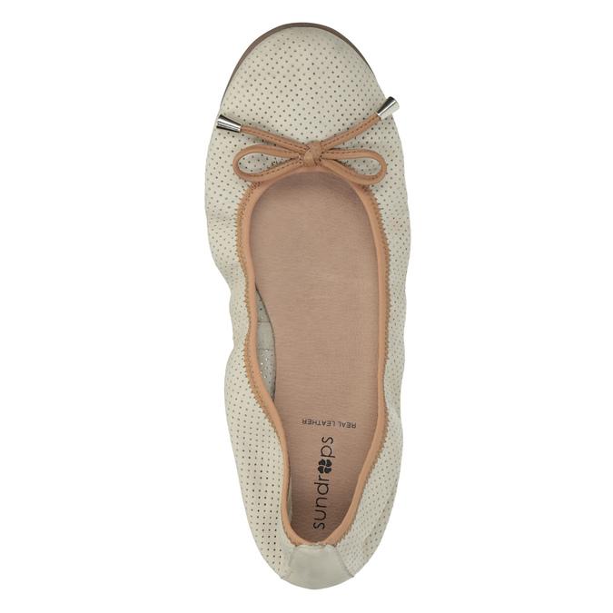 Kožené baleríny s pružným lemom bata, béžová, 526-8617 - 19