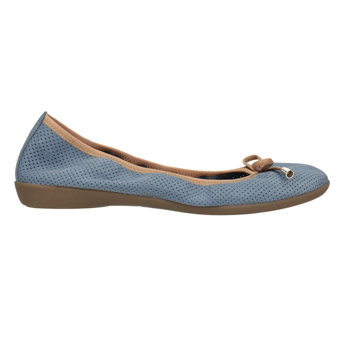 Kožené modré baleríny s pružným lemom bata, modrá, 526-9617 - 15