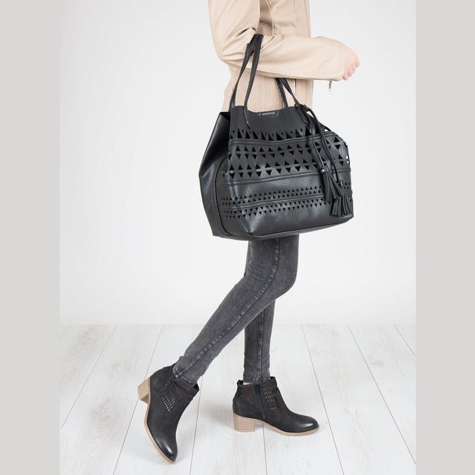 Kožené dámske jarné čižmy bata, čierna, 696-6643 - 18