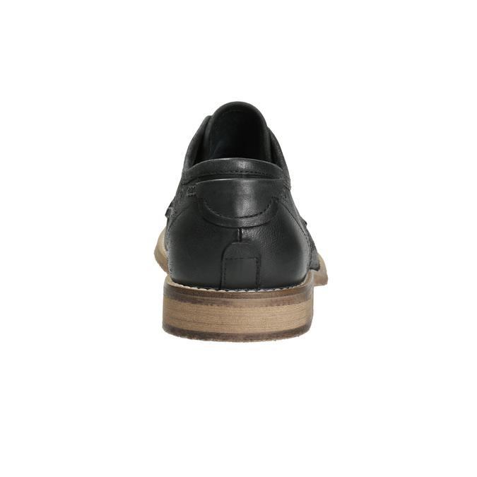 Kožené pánske poltopánky s výrazným prešitím bata, čierna, 826-6815 - 17