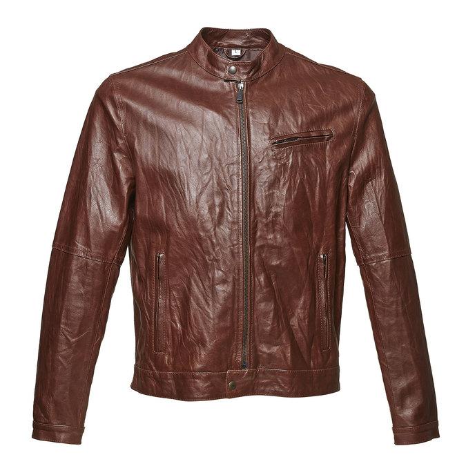 Dámska kožená bunda so štýlovým prešívaním bata, hnedá, 974-4142 - 13
